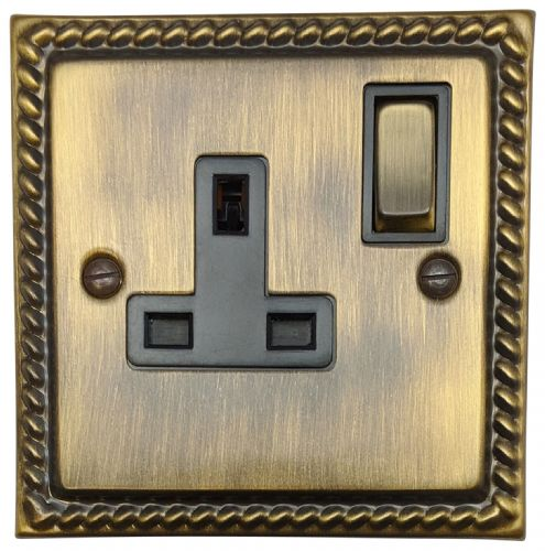 G&H MAB309 Monarch Roped Antique Bronze 1 Gang Single 13A Switched Plug Socket